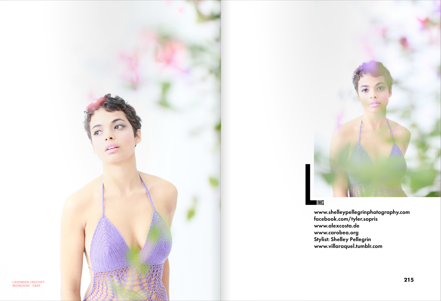magazine layout photos of fashion model actress in a lavendar monokini